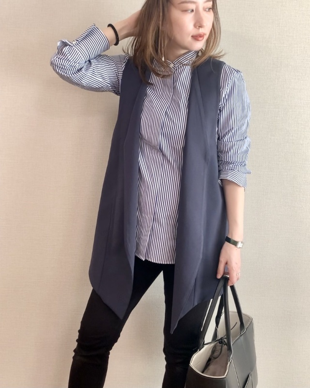UNIQLO+J スーピマコットンスタンドカラーストライプ シャツ(長袖) 3,990円