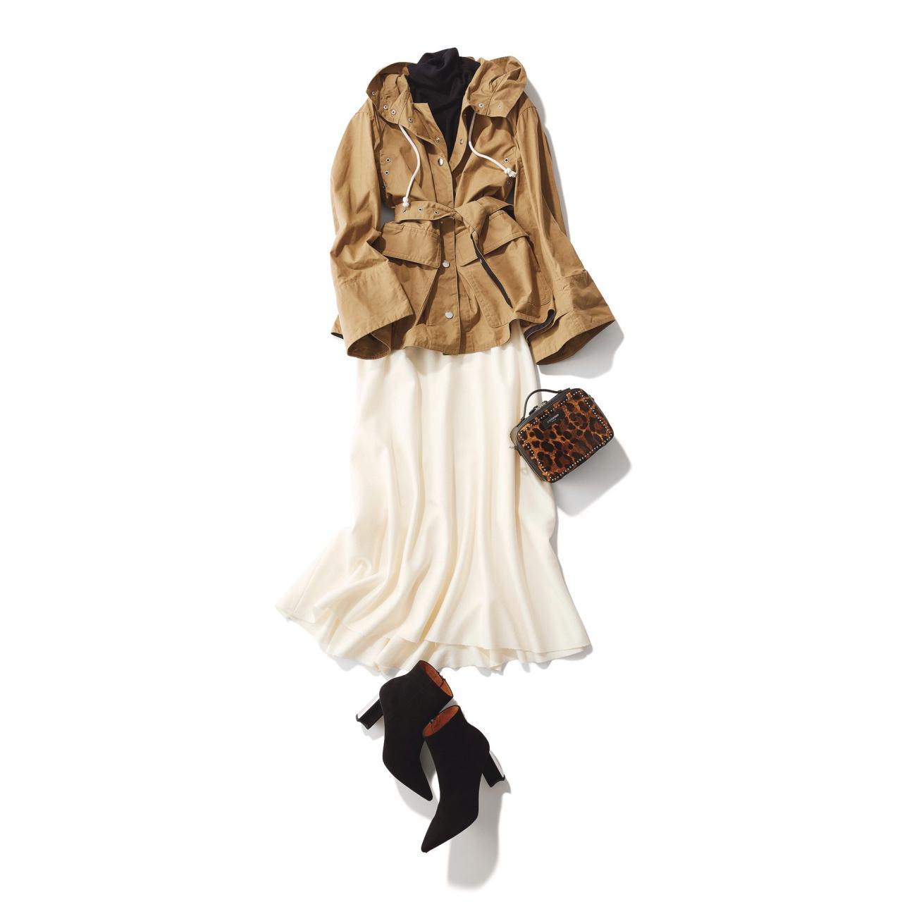ベージュのワークブルゾン×白のフレアスカートのファッションコーデ