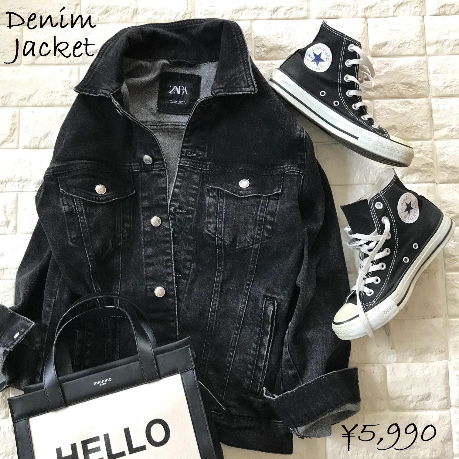 ブラックデニムのクールなジャケット