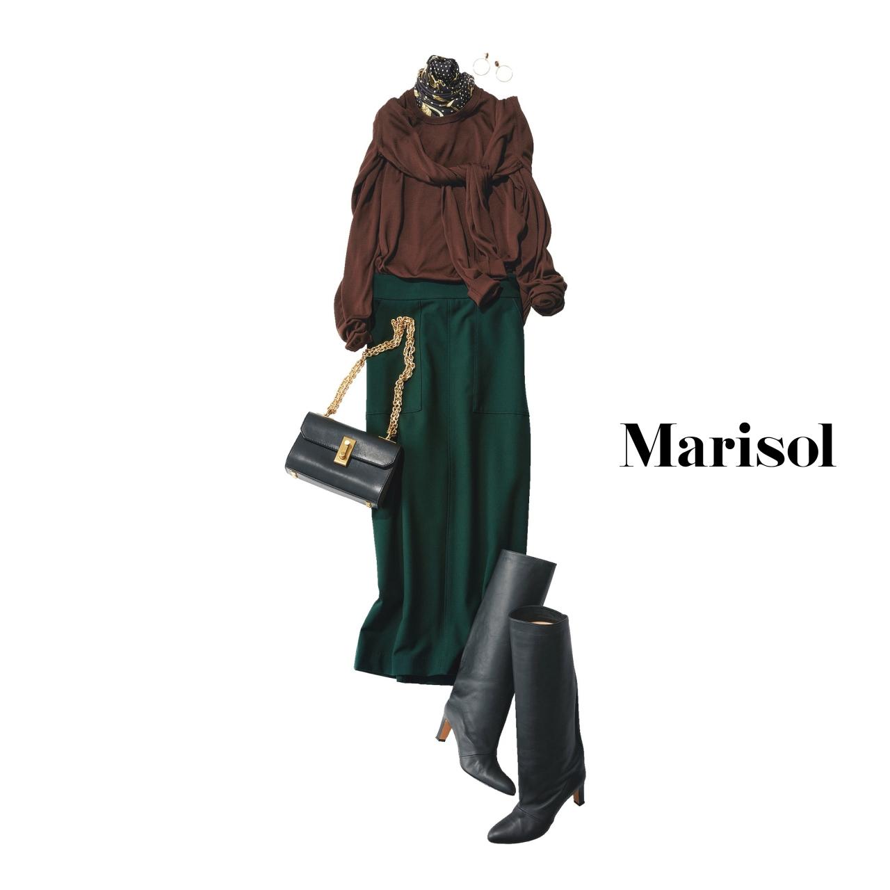 40代ファッション ニット×カーディガン×ロングスカート×ロングブーツコーデ
