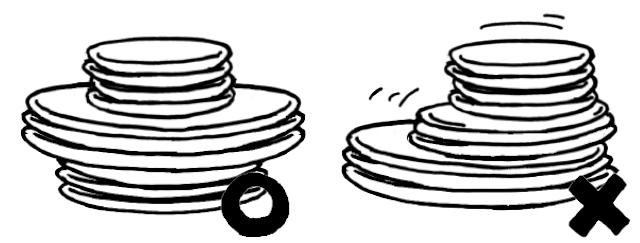 器は、上から小・大・中と 重ねると揺れを軽減できる