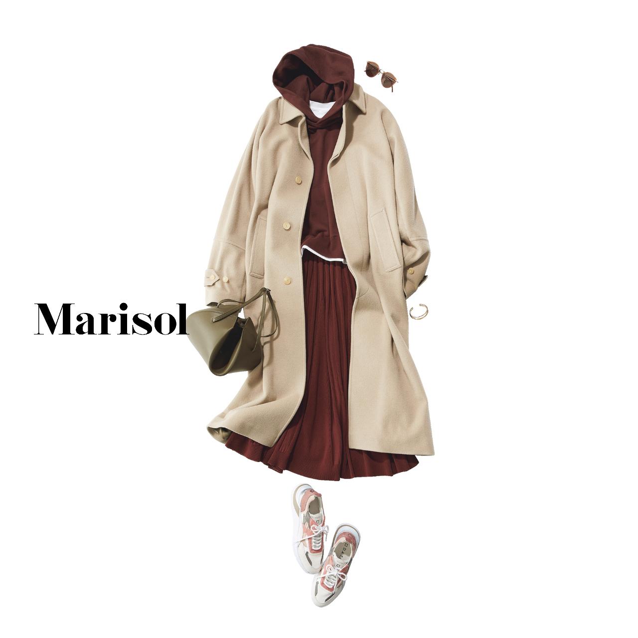 40代ファッション  フーディ×スカート×コート×スニーカーコーデ