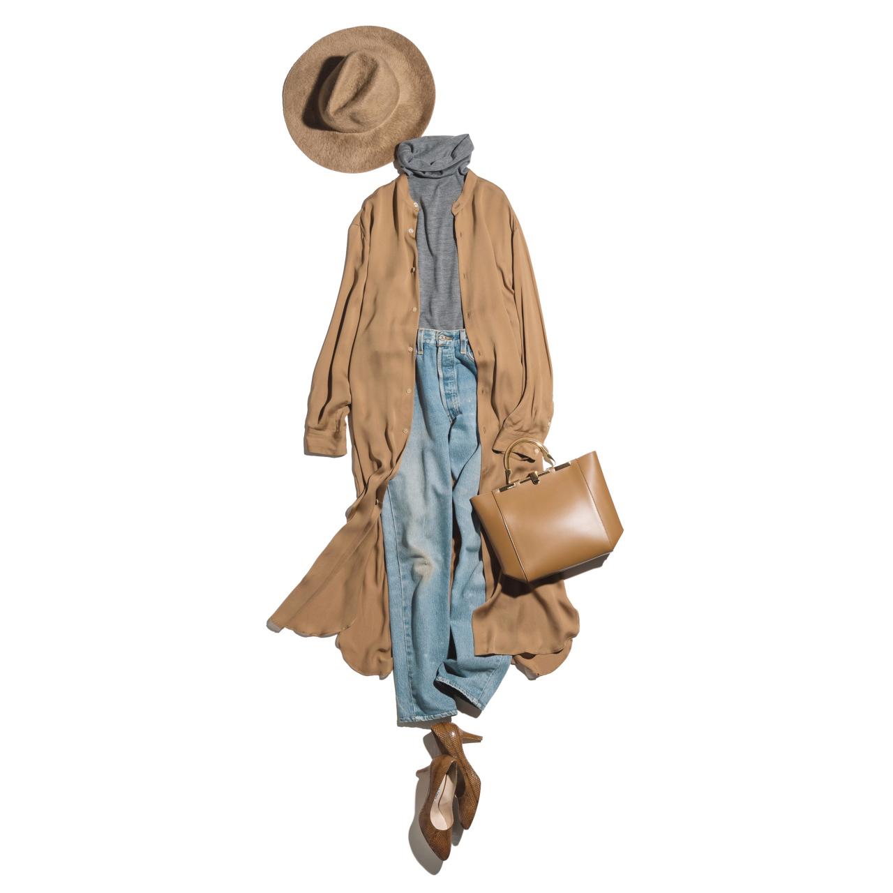 ロングカーディガン×デニムのファッションコーデ