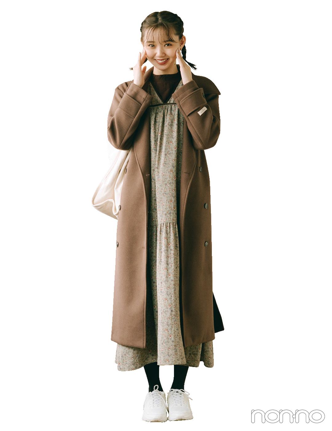 ロングコート&ロングワンピでIラインを意識すれば冬でも着膨れ知らず【毎日コーデ】