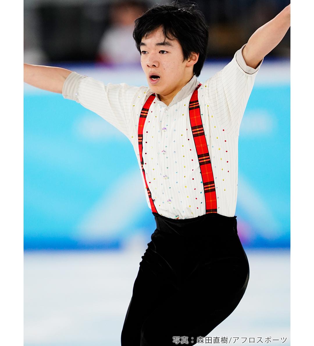 フリープログラム「タッカー」の演技を終えたフィギュアスケート男子シングル鍵山優真選手