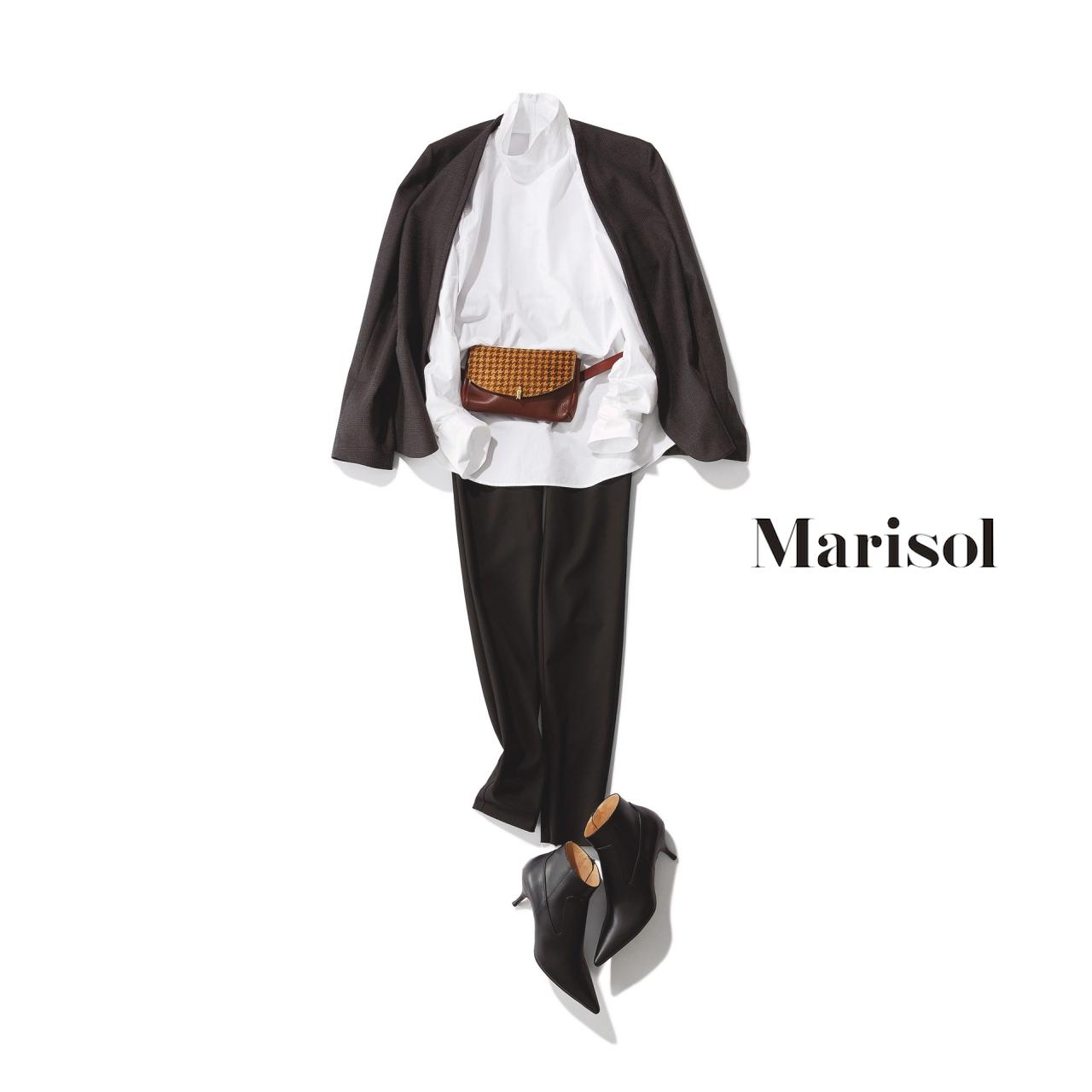 立ち襟シャツ×黒パンツコーデ