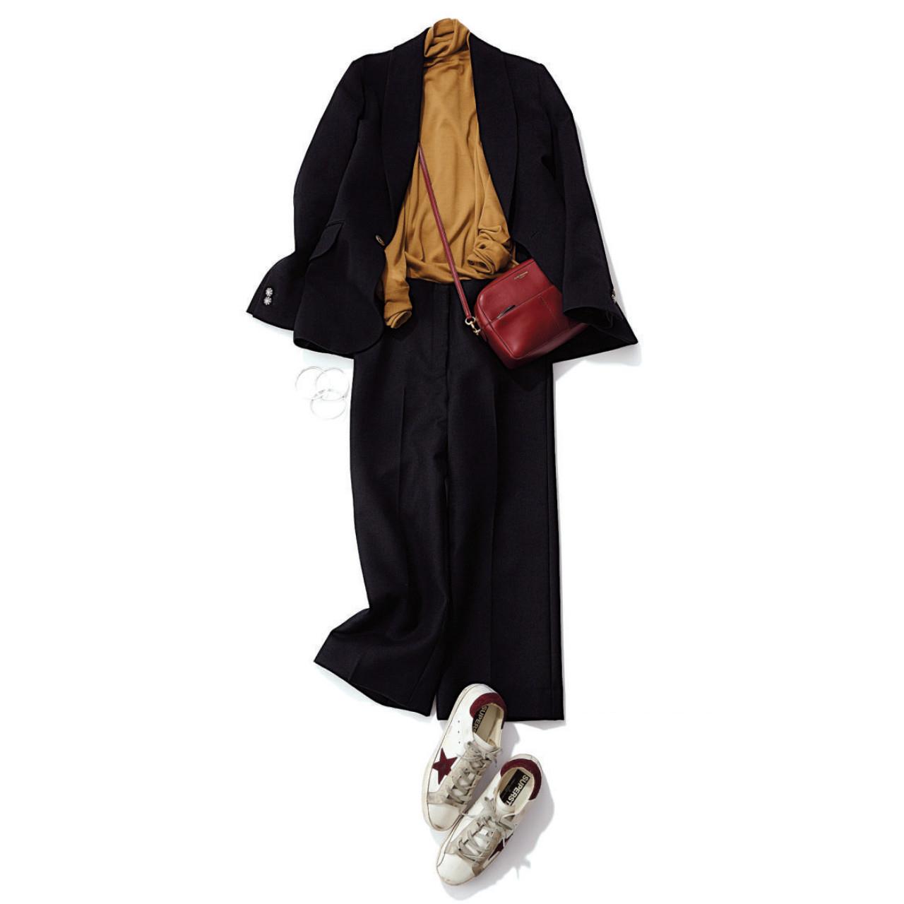ジャケット×黒パンツのファッションコーデ
