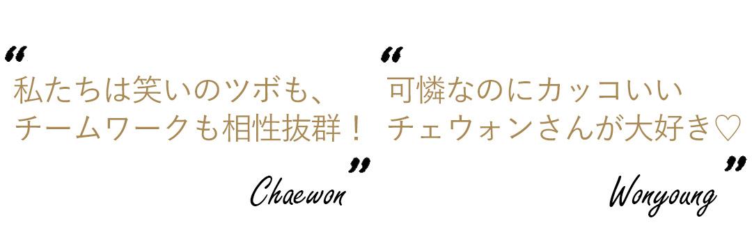 キム・チェウォン×チャン・ウォニョンのコメント