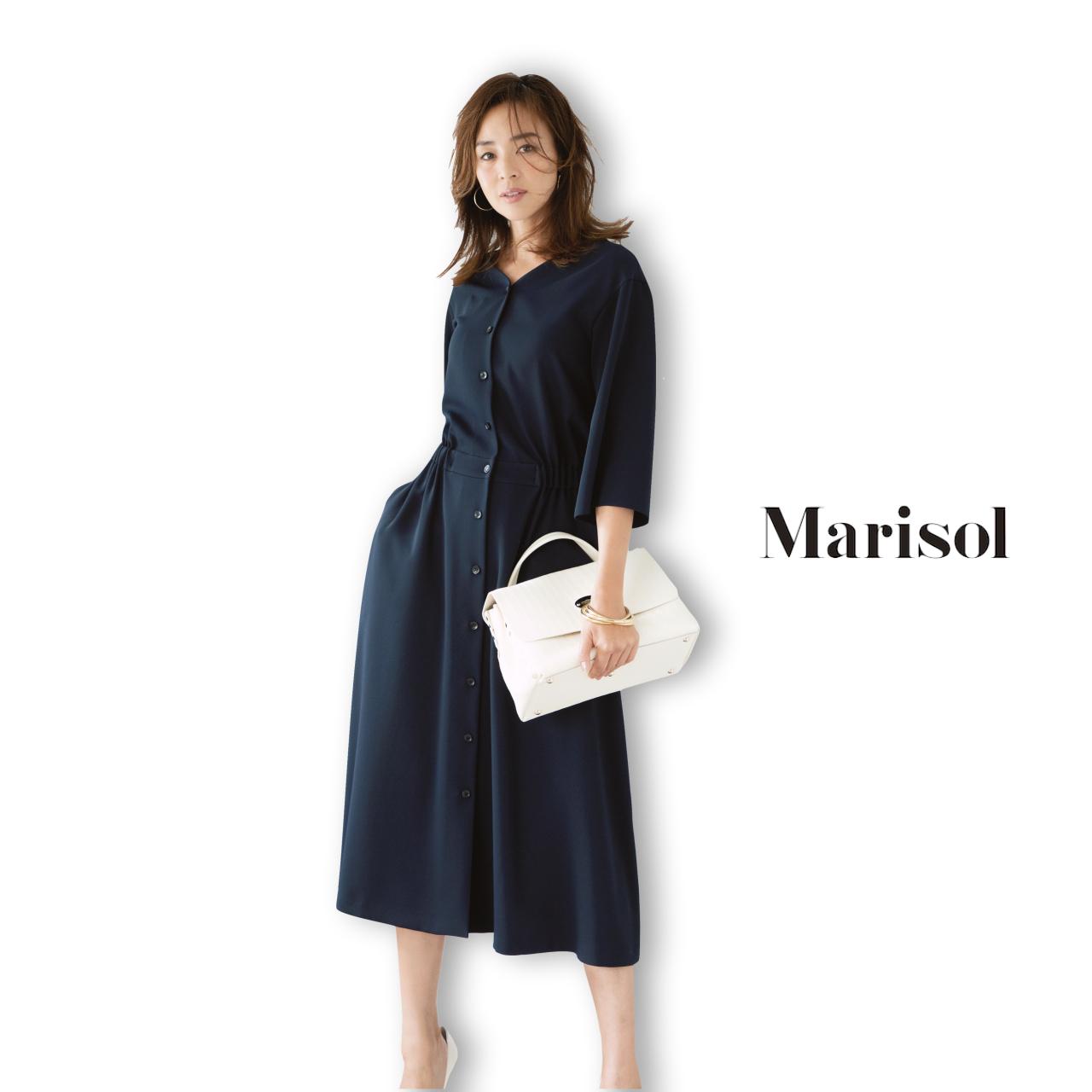 40代ファッション ネイビーシャツワンピースコーデ