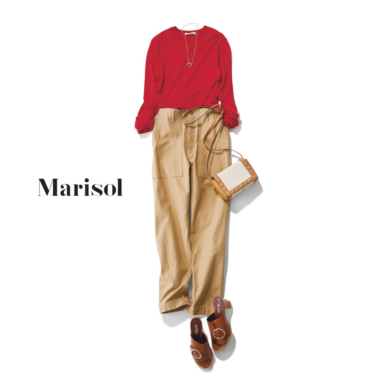 40代ファッション 赤ニット×チノパンツコーデ