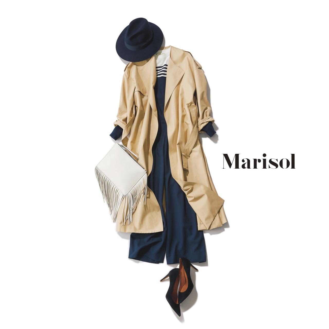 40代ファッション ゆるフェミニントレンチ×オールインワンパンツコーデ