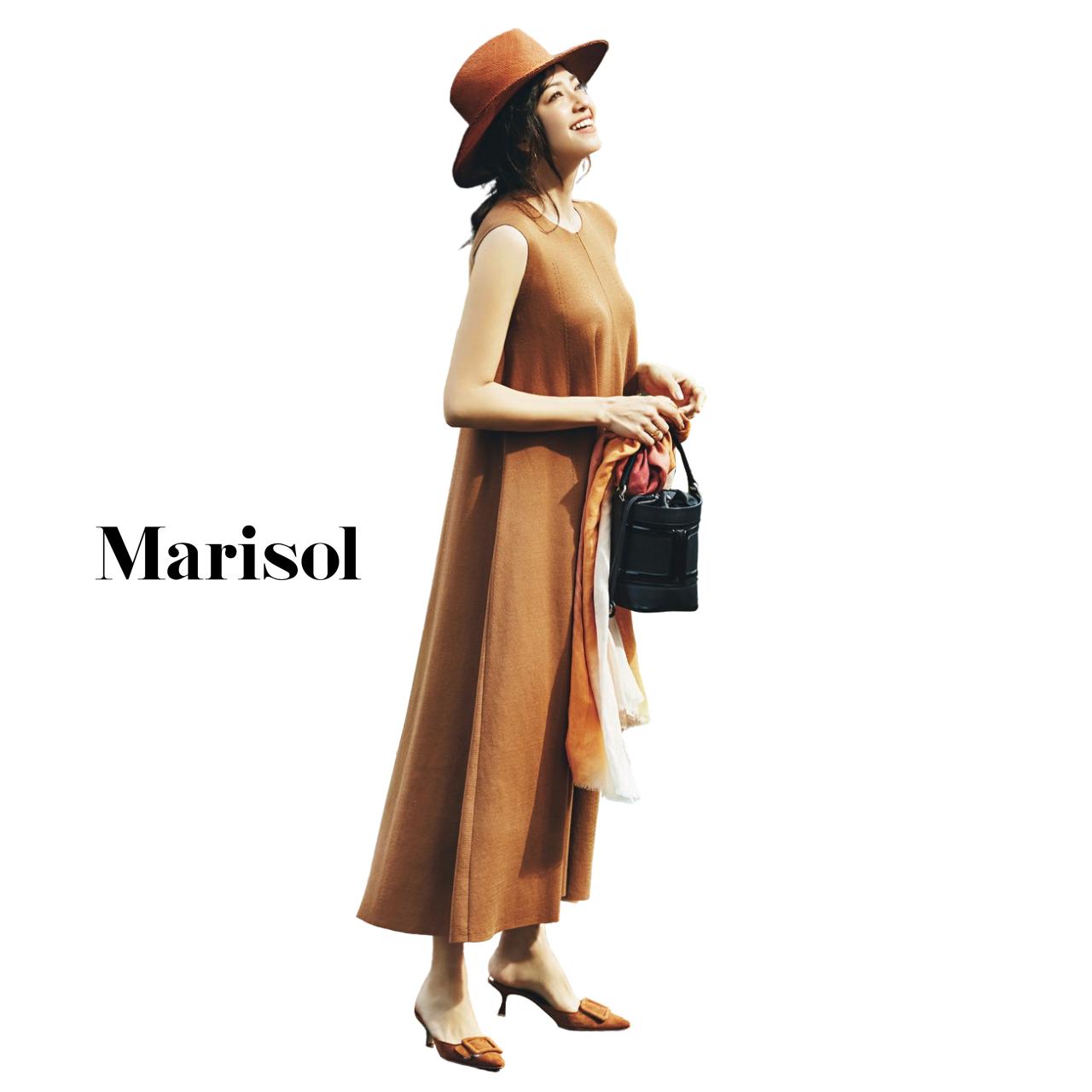 40代ファッション ハット×ブラウンワンピースコーデ