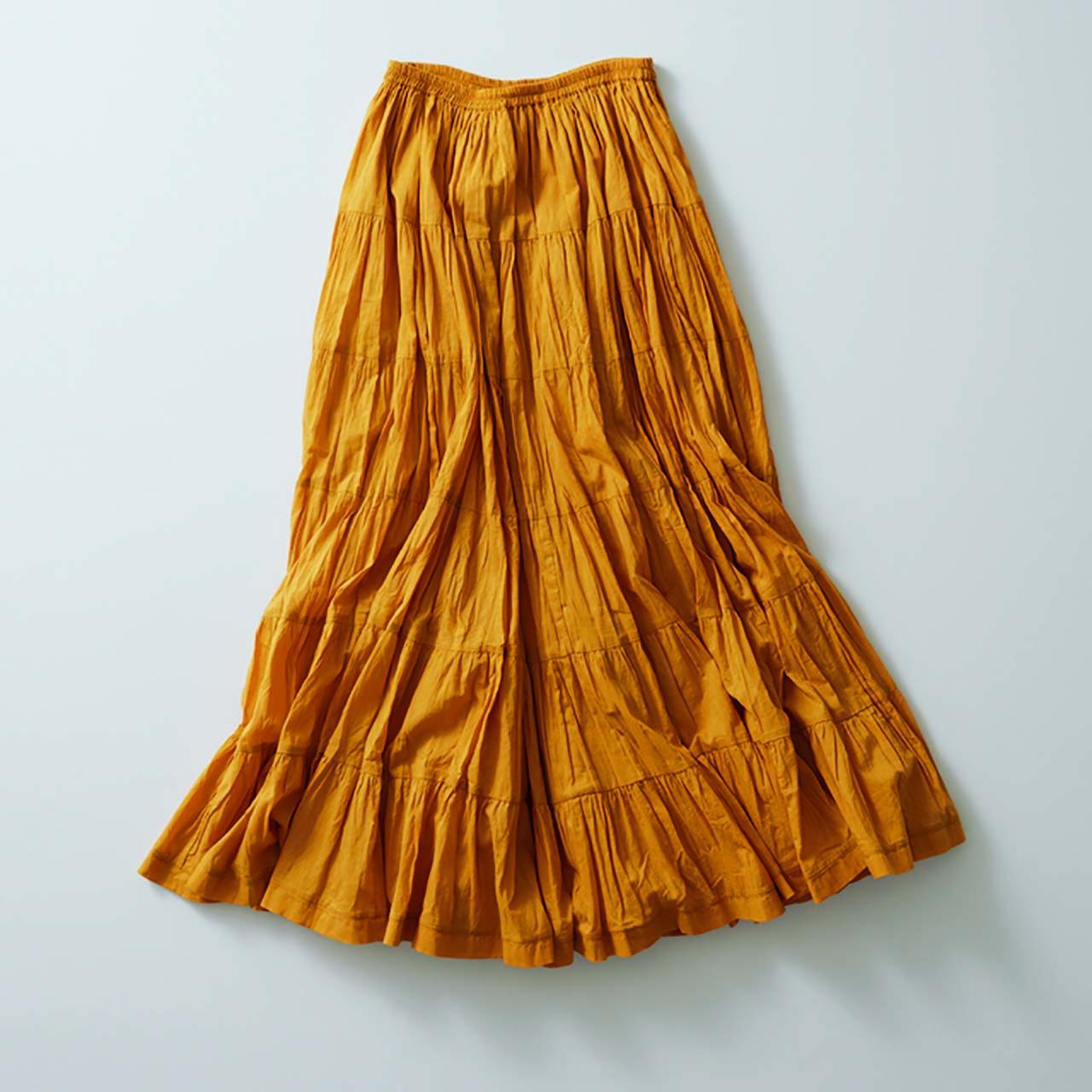 きれい色のロングフレアスカート