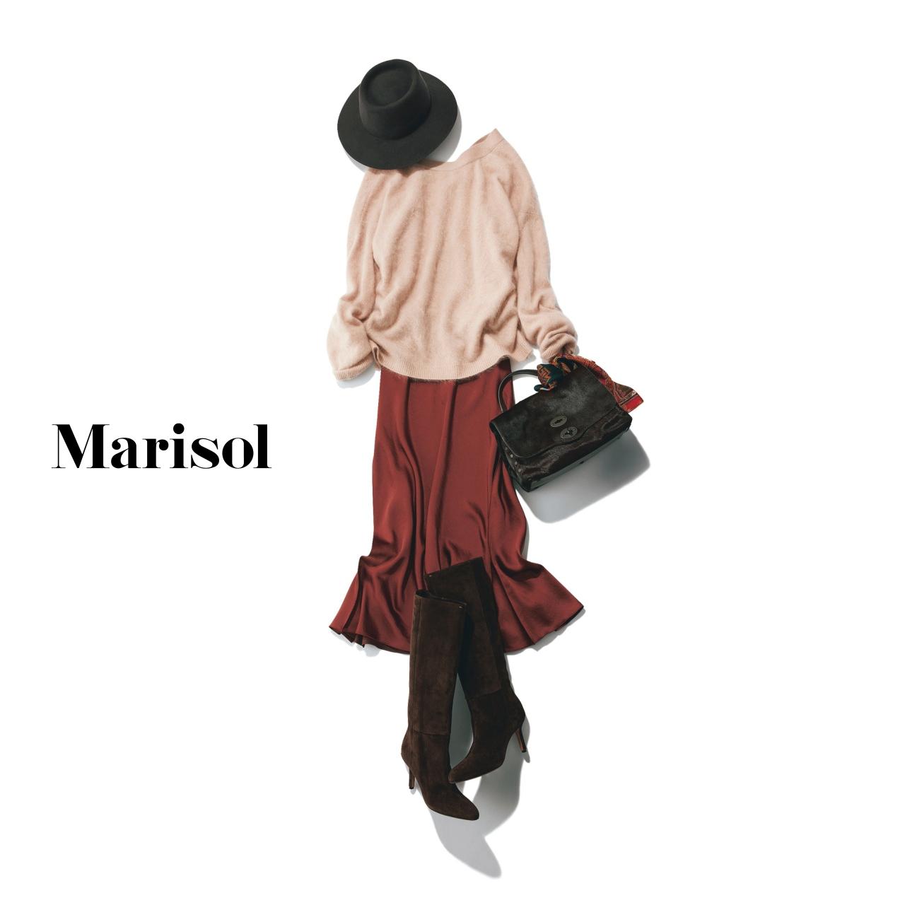 40代ファッション ピンクニット×ブリックレッドスカートコーデ