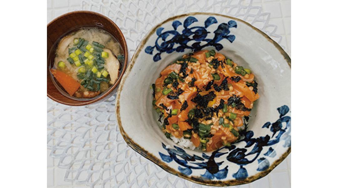 サーモン納豆丼