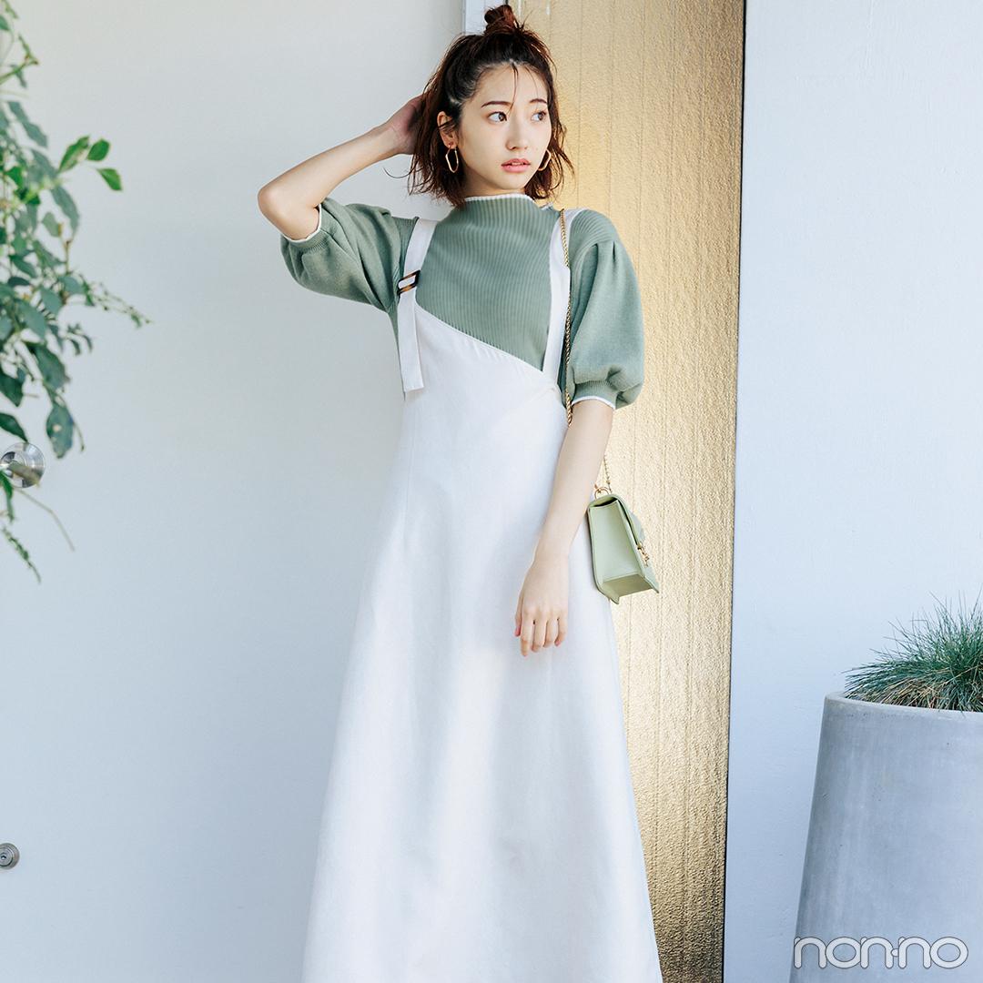 ジャンスカを今季らしく着るならインには透けシャツ♡【毎日コーデ】_1_2-1