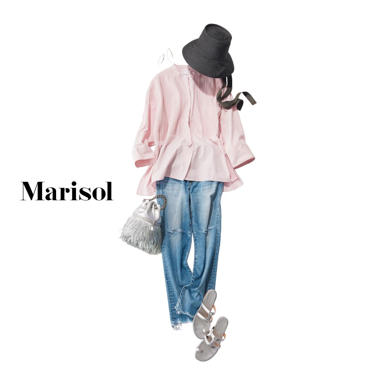 40代ファッション ブラウス×デニムパンツ コーデ