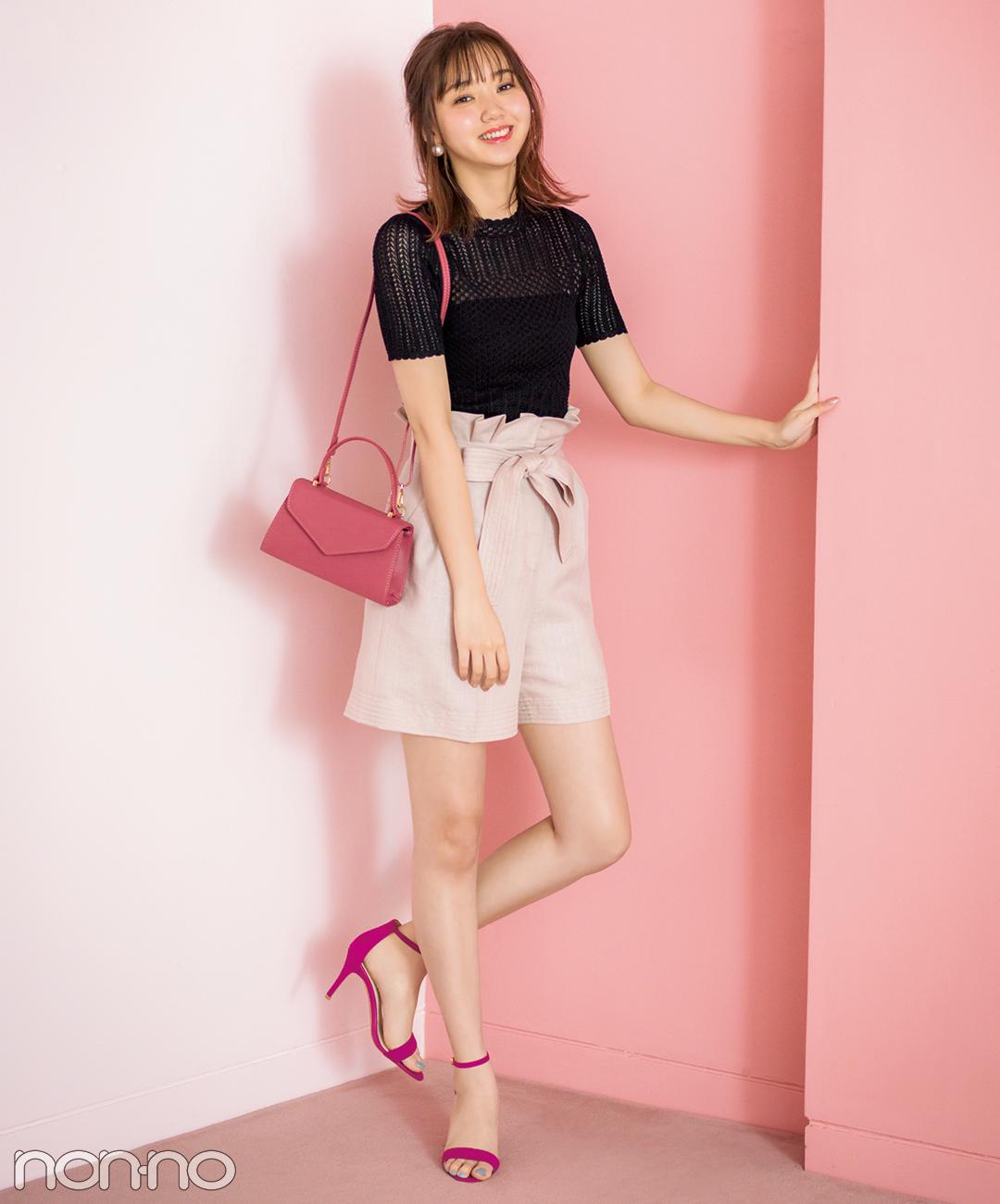 【春→夏ショートパンツコーデ】ピンクのショーパンは黒トップスで引き締めて★