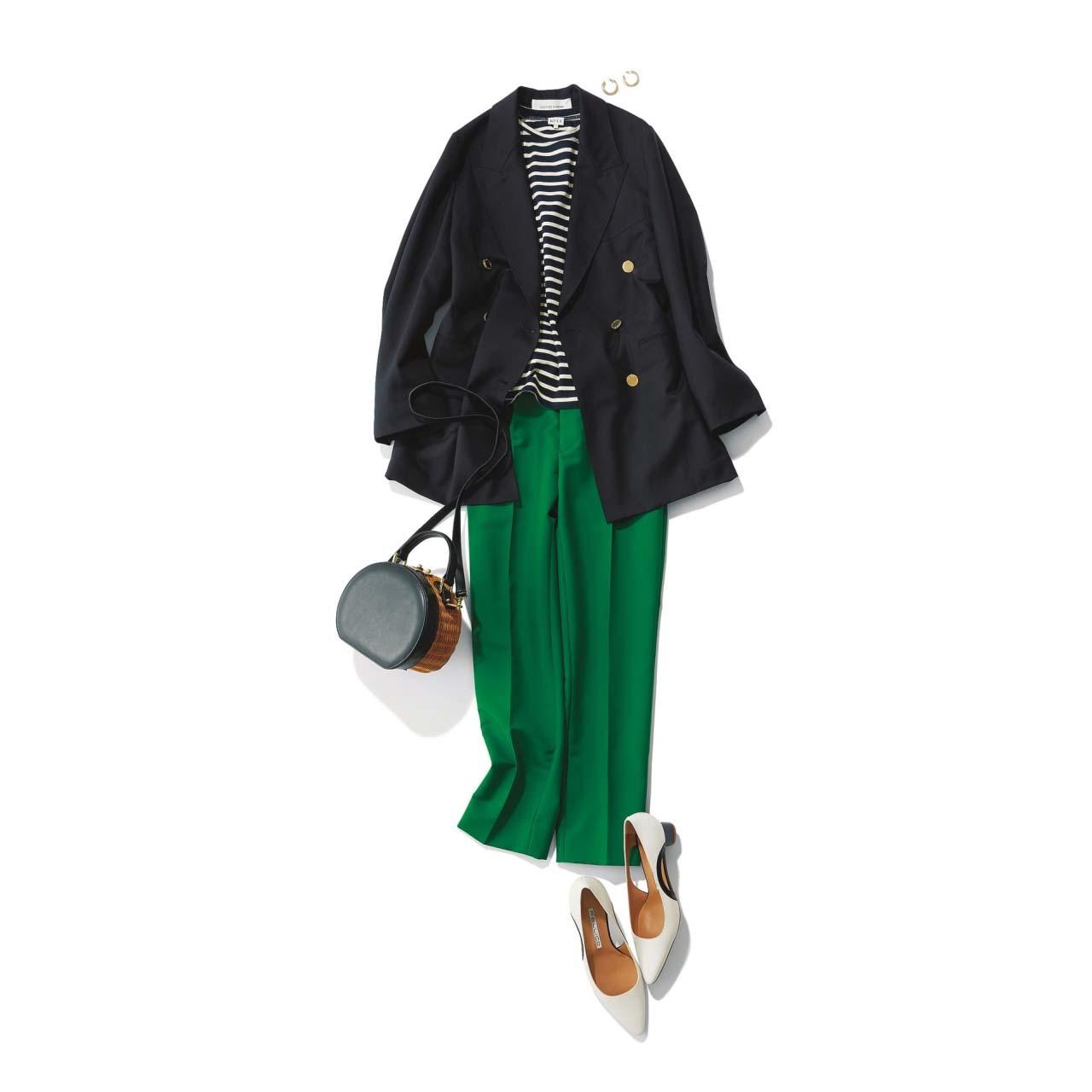 グリーンのパンツ×ジャケット×ボーダーTシャツコーデ