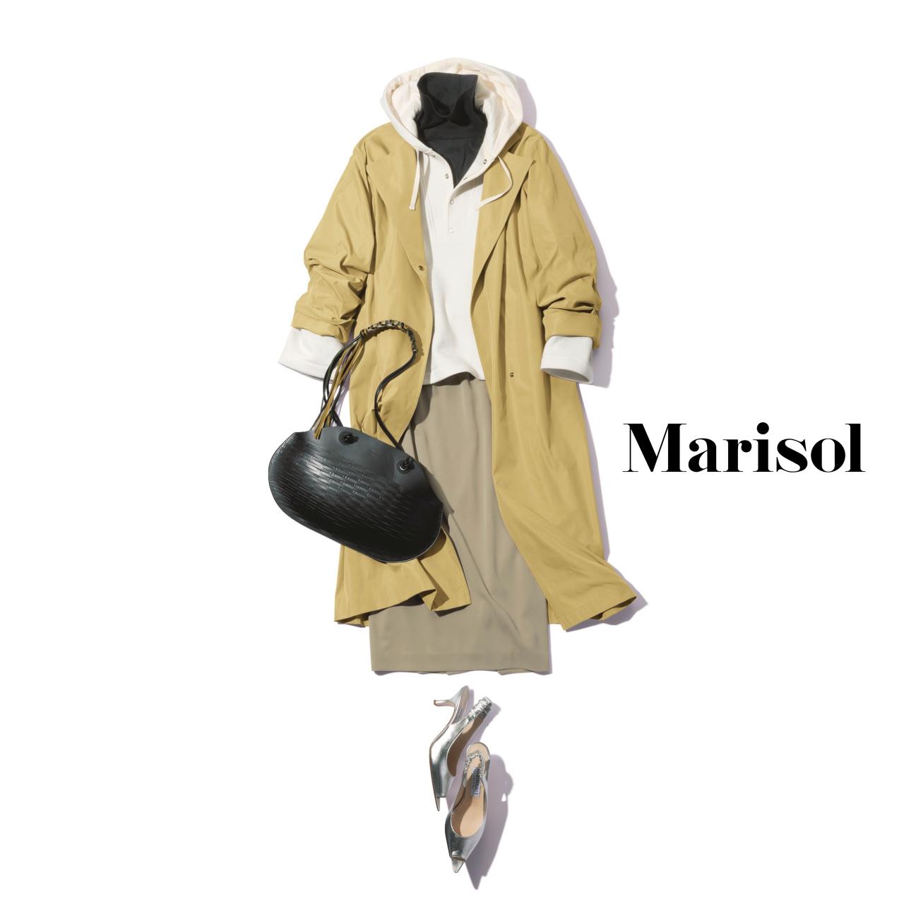 40代ファッション フーディ×コート×タートルネックニット×タイトスカートコーデ