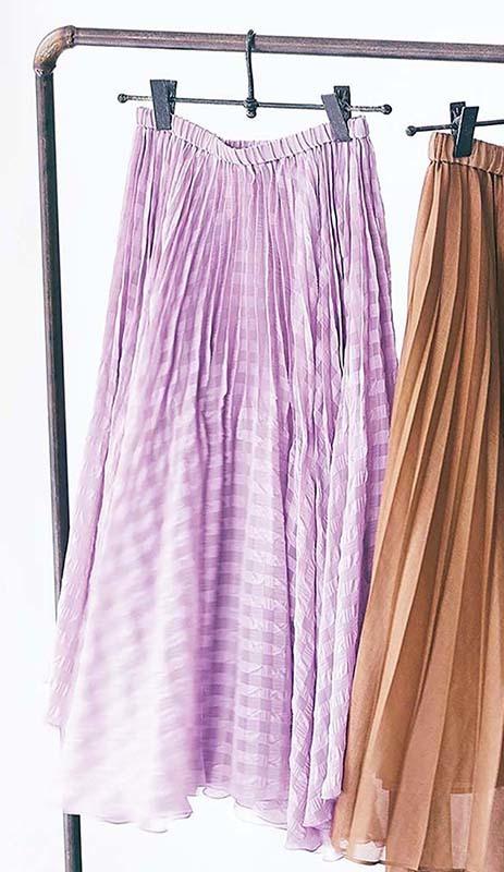 「マルティニーク」ギンガムチェックの透け感プリーツスカート