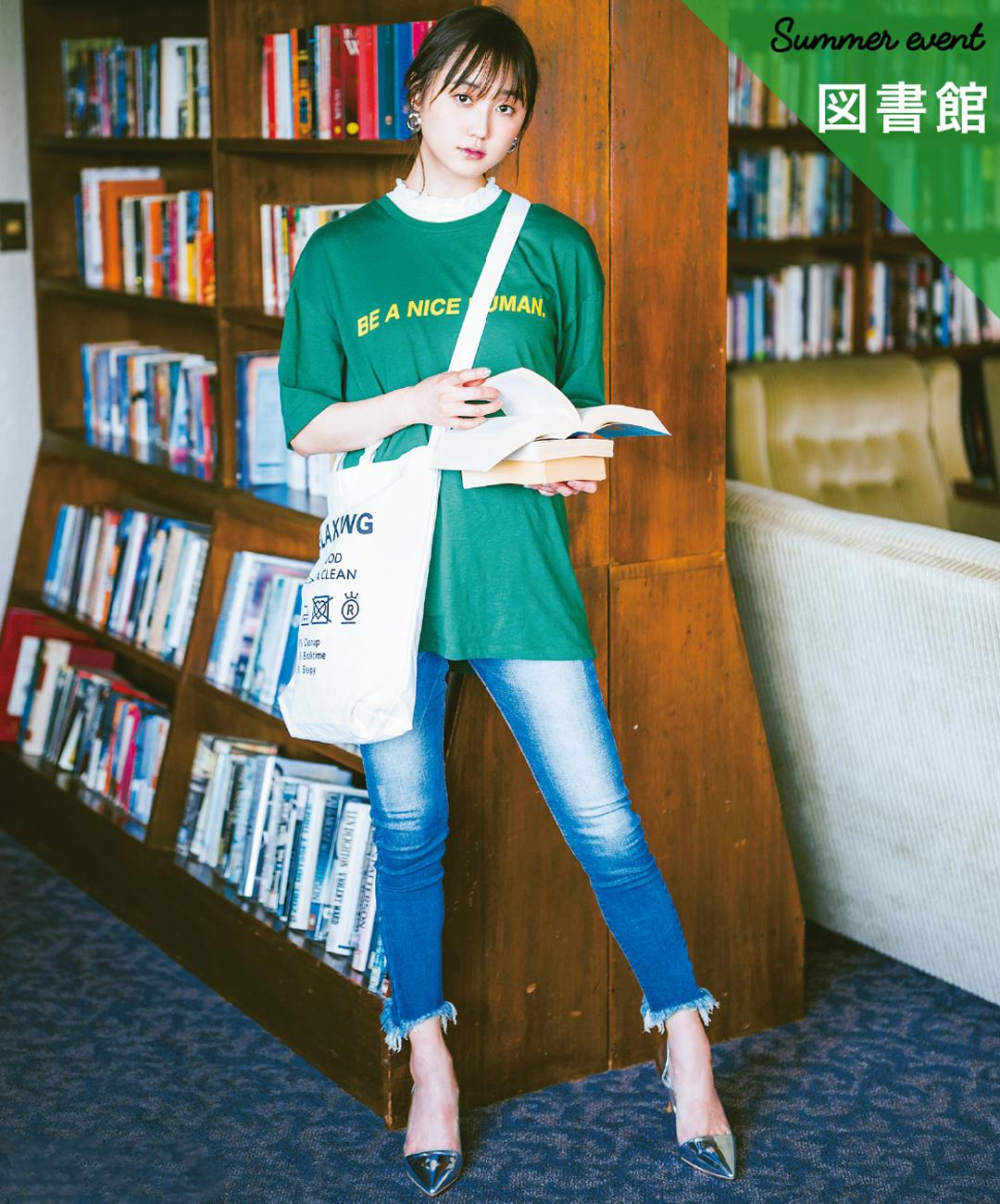 【夏のパンツコーデ】鈴木友菜は、デニム×ビッグTのルーズな着こなしにゆるカジレースで女っぽ★