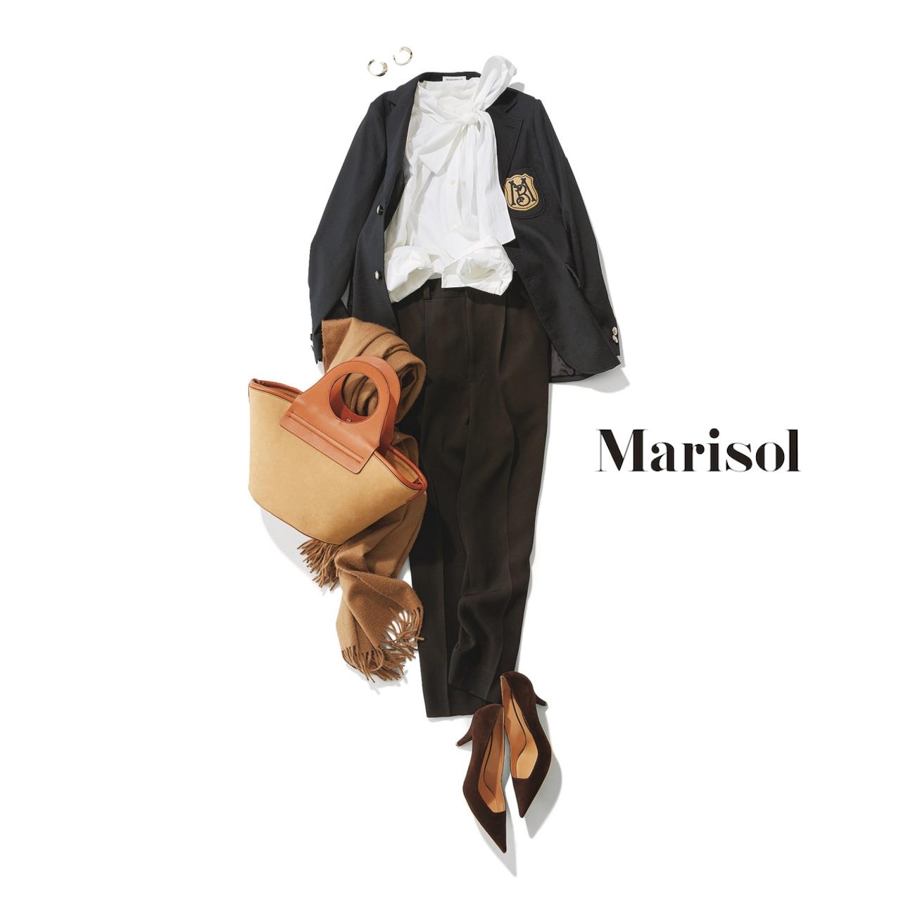 40代ファッション ボウタイシャツ×ジャケット×黒パンツコーデ