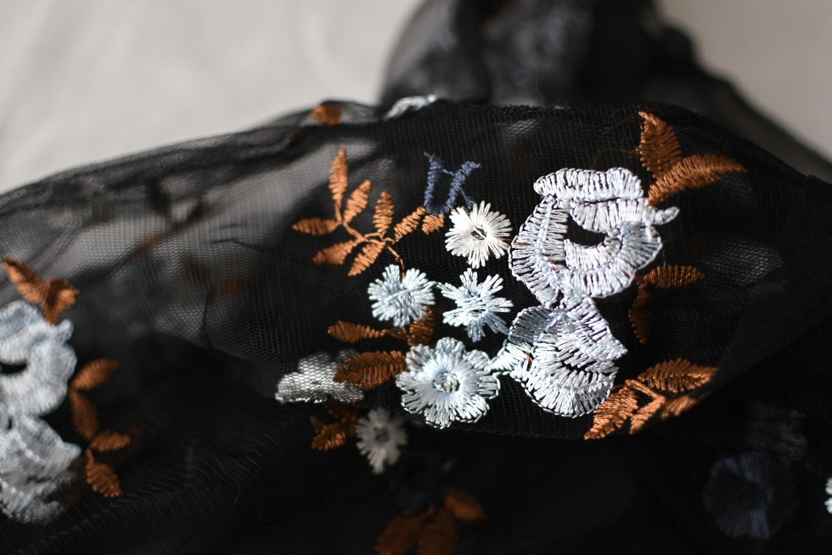 【フランフラン】チュールバッグ フラワー ブルー×ブラックは、大人でも持てるおしゃれエコバッグ