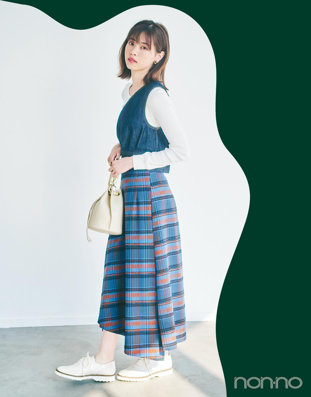西野七瀬が秋のトレンド「ハンサムスカート」をはき比べ!_1_9