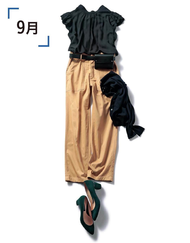 今すぐ着られる秋の推し服「ボウタイつきフリルブラウス」、10月までの着回し実例はコレ!_1_2-2