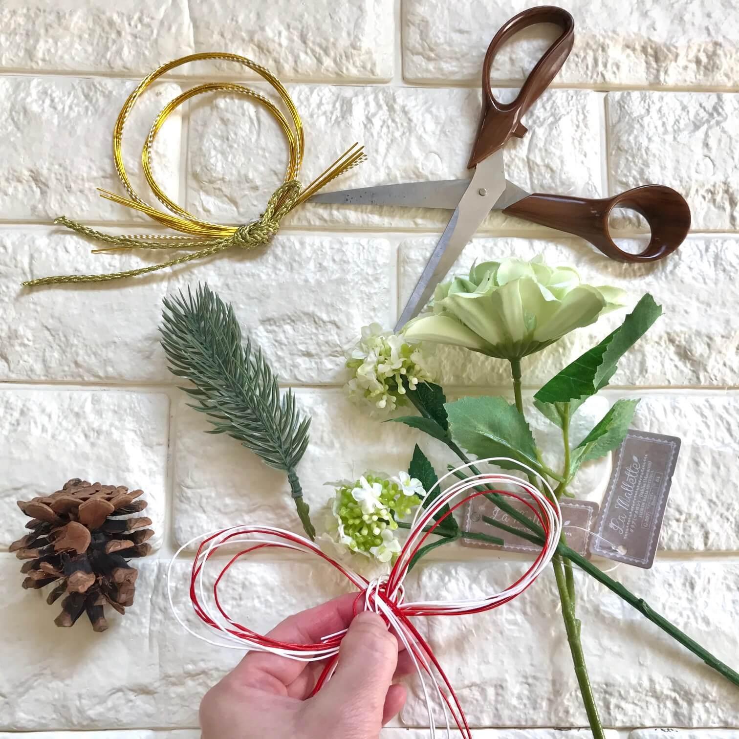 しめ縄飾り制作過程画像