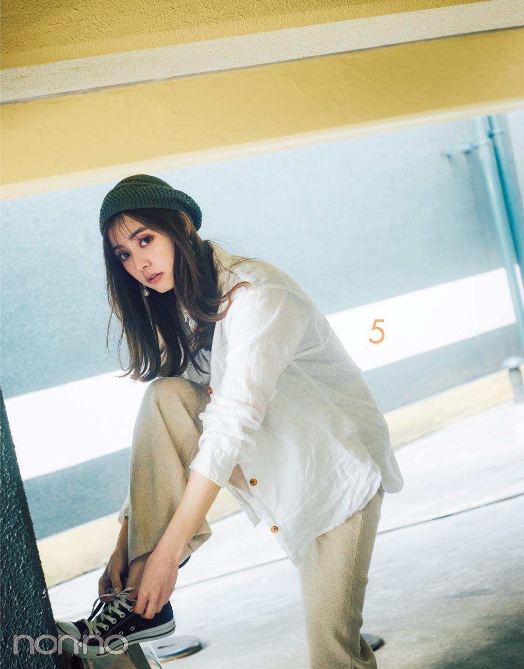 新木優子の白シャツ着回しコーデ7通り★ きれいめもカジュアルもお任せ!_1_3-5