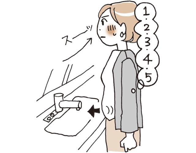 おなかを膨らませながら、5秒で鼻から息を吸う。