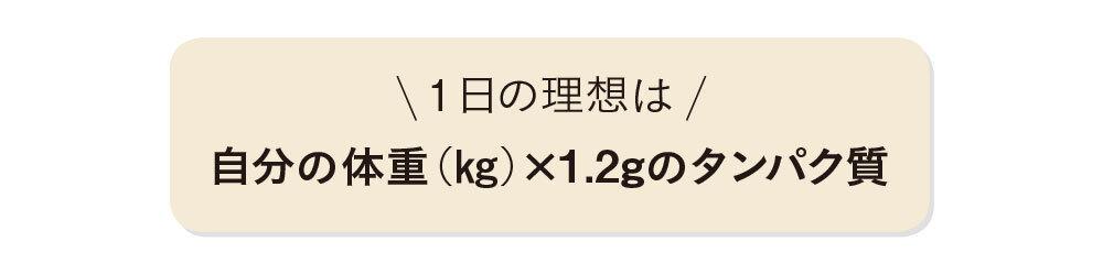 1日の理想は、自分の体重(kg)×1.2gのタンパク質
