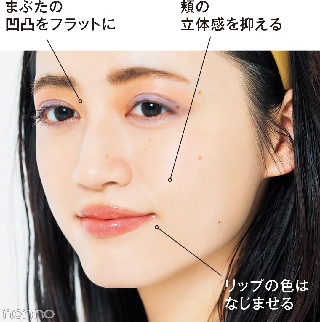 まぶたの凹凸をフラットに 頬の立体感を抑える リップの色はなじませる
