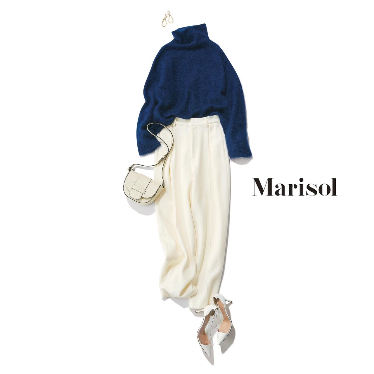 40代ファッション ネイビーニット×白パンツコーデ