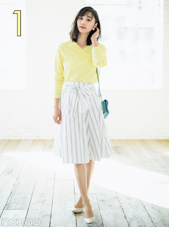 春だからちょっと大人っぽく。友菜がトレンドのストライプスカートを5通りに着回し!_1_3