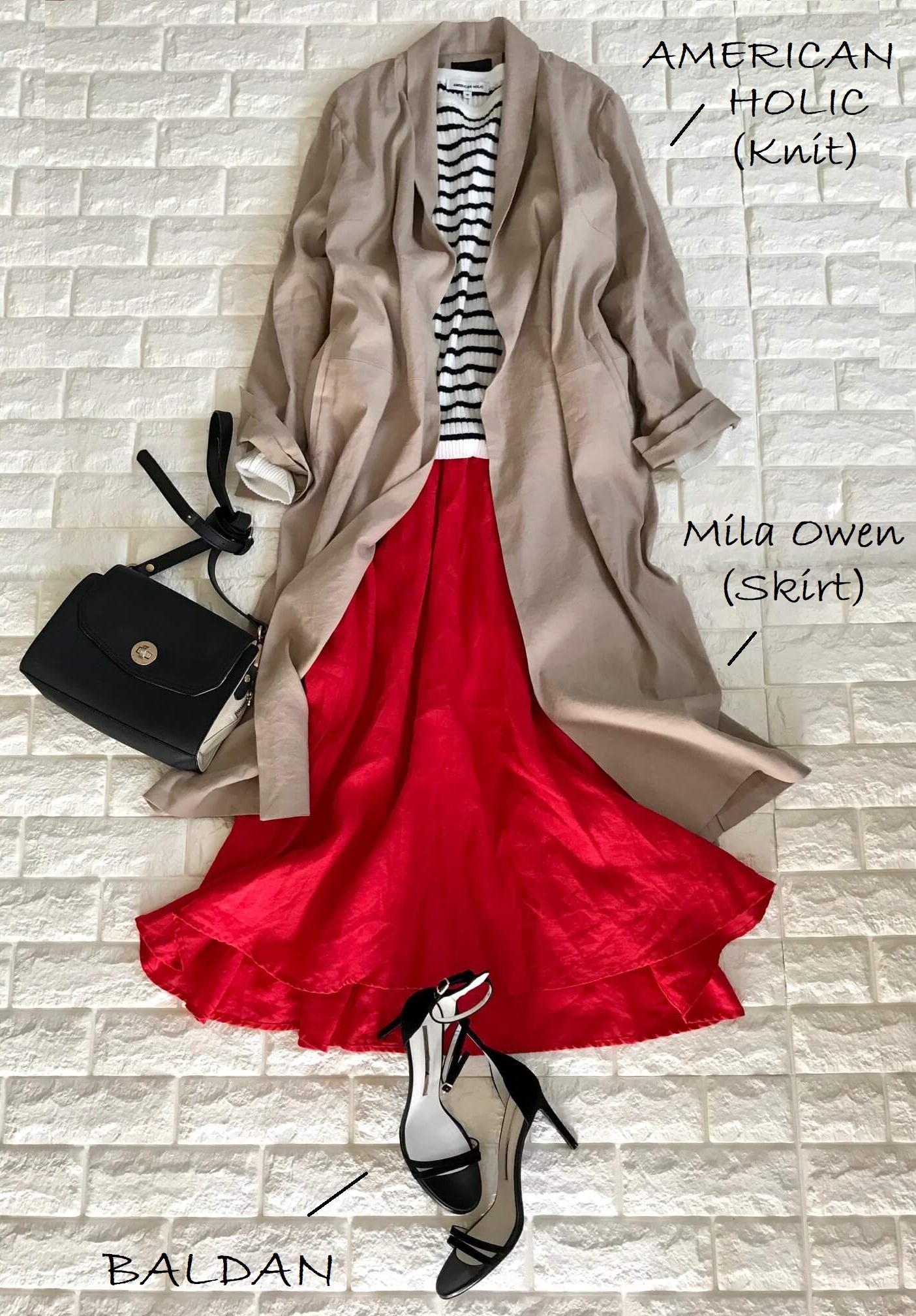 NORC(ノーク)のリネンコートときれい色スカートのフェミニンコーデ