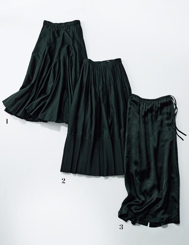 大人世代におすすめの春の「黒スカート」