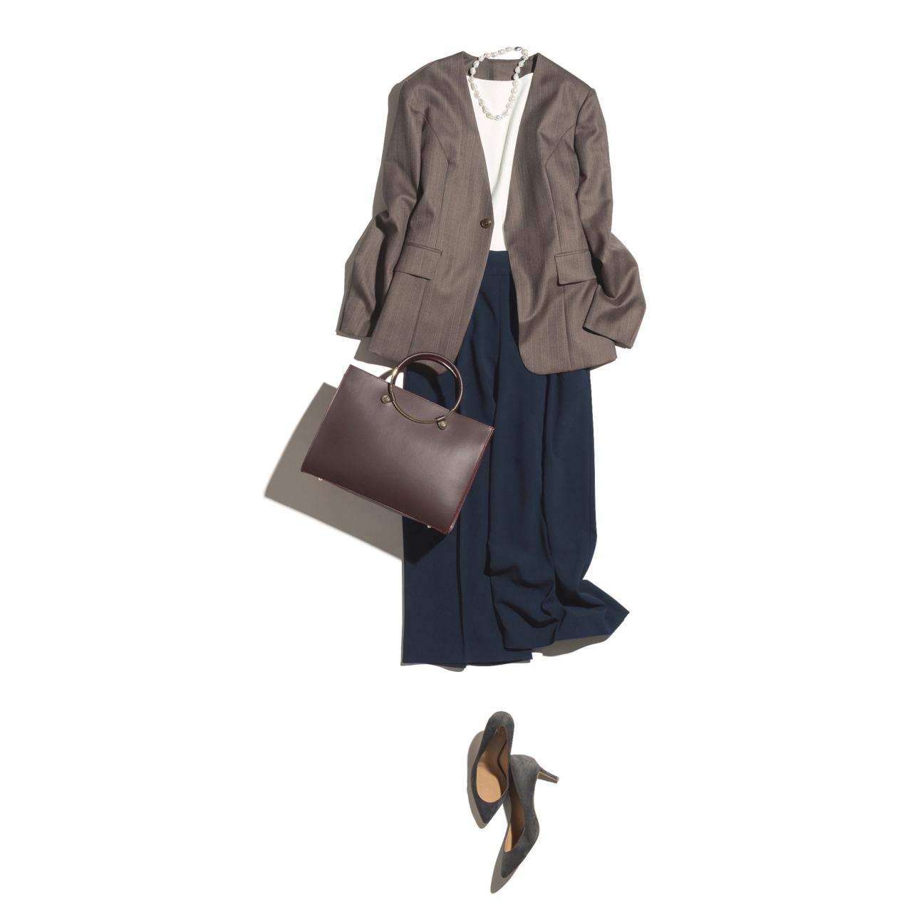 ジャケット×ガウチョパンツのファッションコーデ