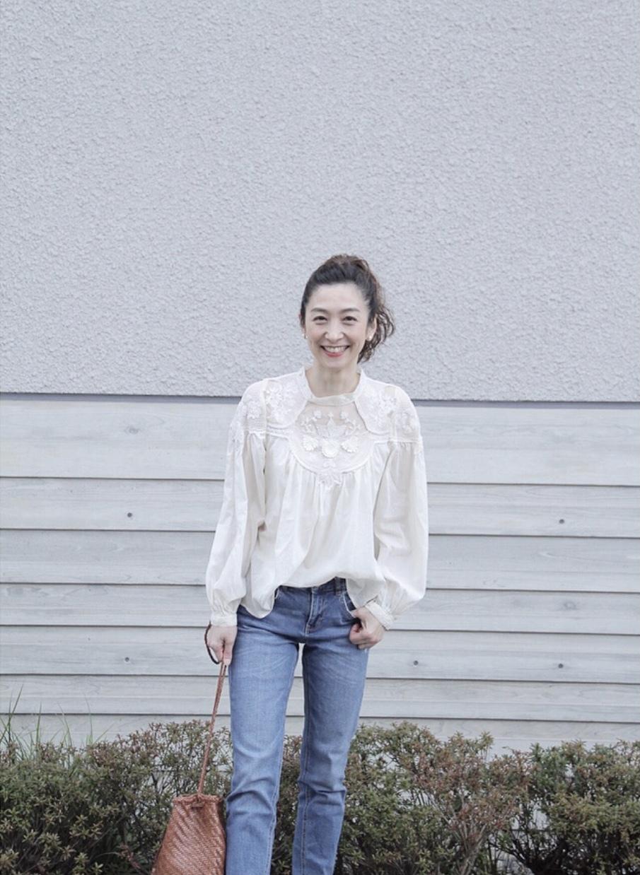 ZARA刺繍レースブラウス+デニム♡_1_7