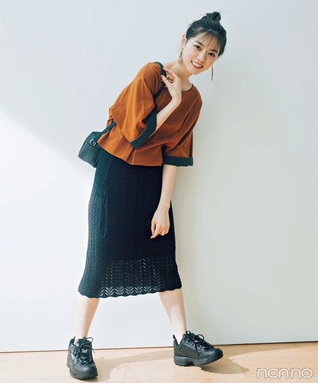 西野七瀬はブラウントップスとクロシェスカートで大人っぽく!【毎日コーデ】