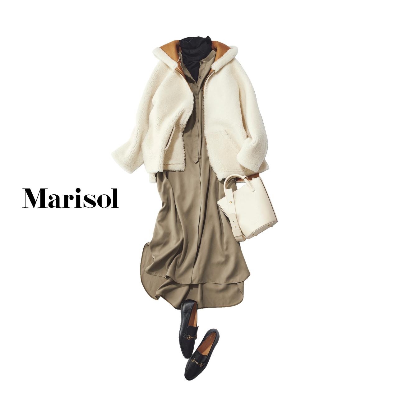 40代ファッション ワンピース×タートルネック×もこもこジャケットコーデ