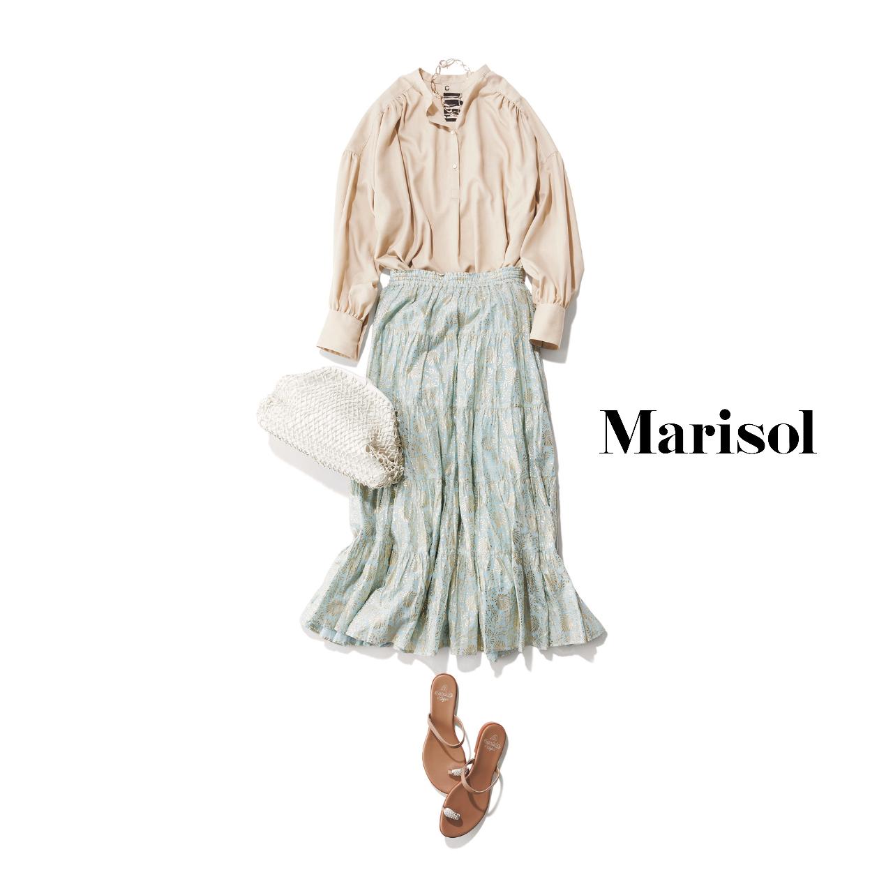 40代ファッション  ベージュブラウス×スカート コーデ