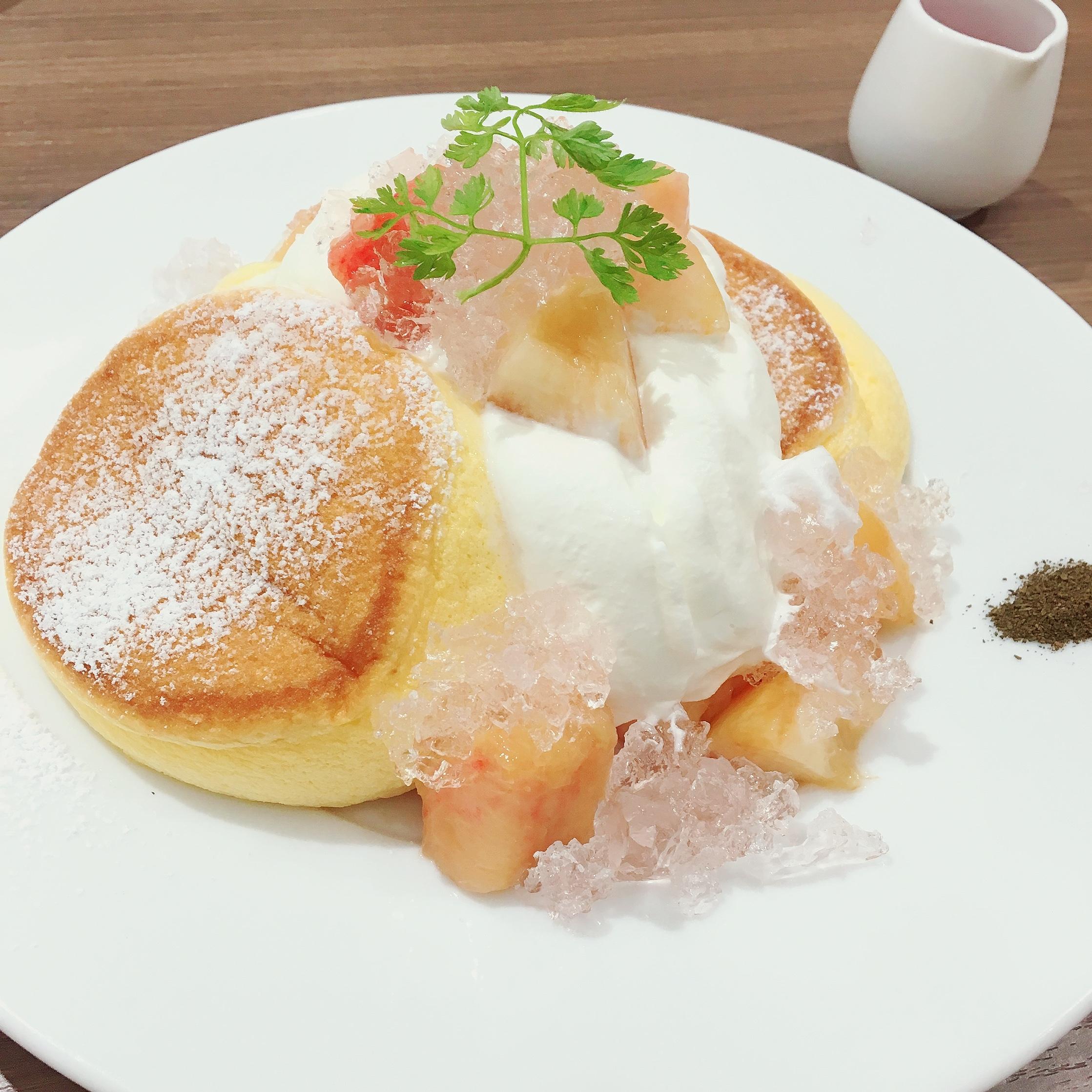 【幸せのパンケーキ】期間限定!国産白桃のローズヒップピーチパンケーキ♡_1_2