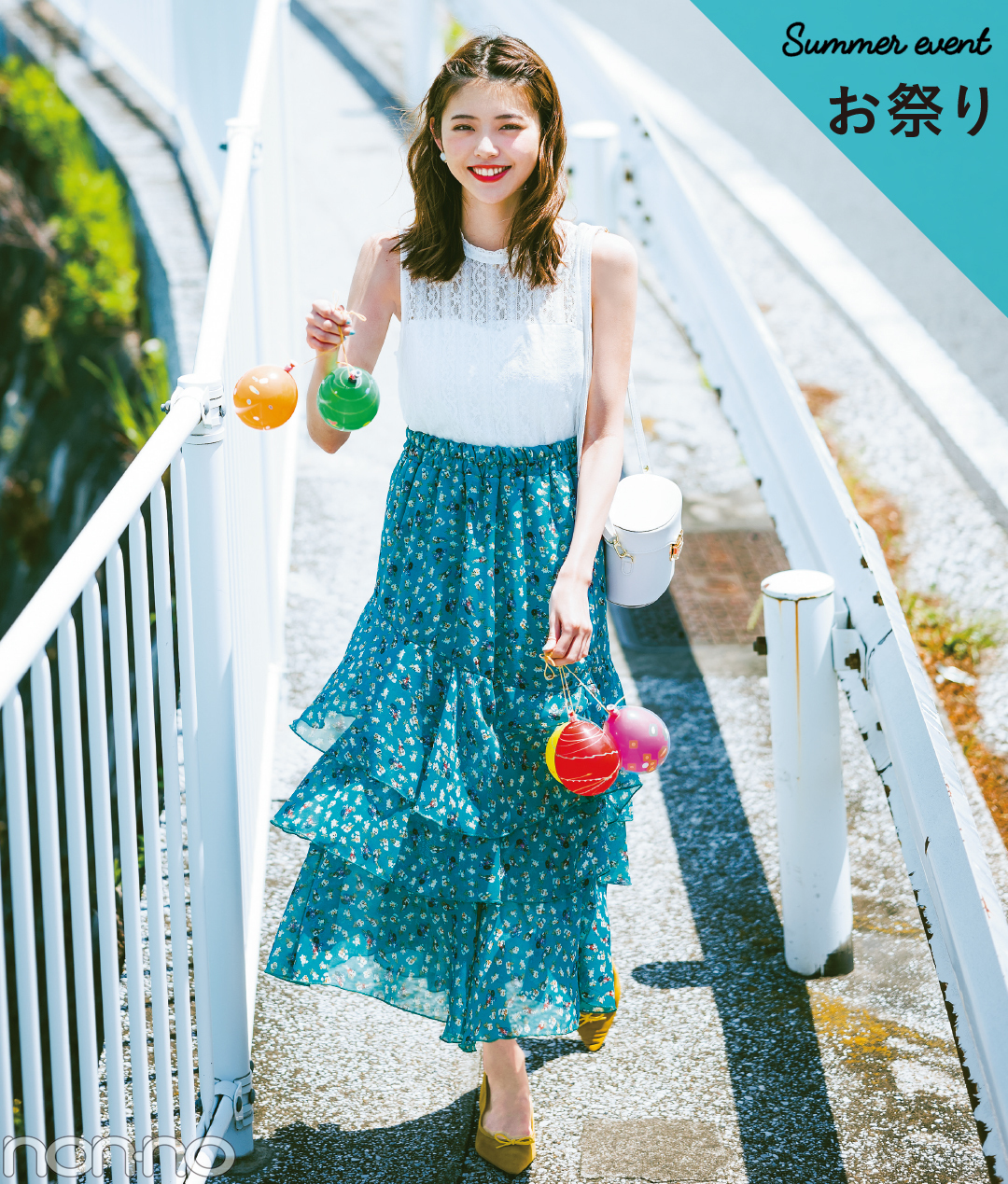 【夏のノースリーブコーデ】鈴木優華のお祭りコーデ!白レース×小花柄なら、ゆかたに負けない華やかさ