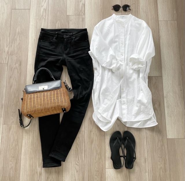 OOTD: ロングシャツのモノトーンコーデ【40代 私のクローゼット】_1_2