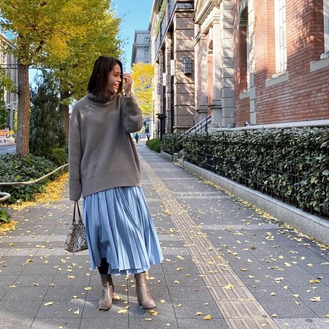 秋冬はニット×きれい色スカートで王道大人フェミニンコーデ♪_1_3