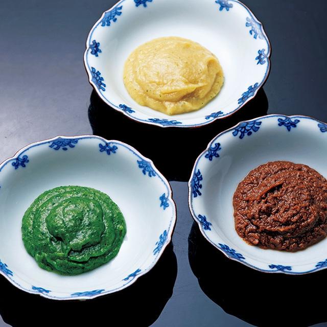 炊き味噌3点セット¥2,700(すべて送料別)。