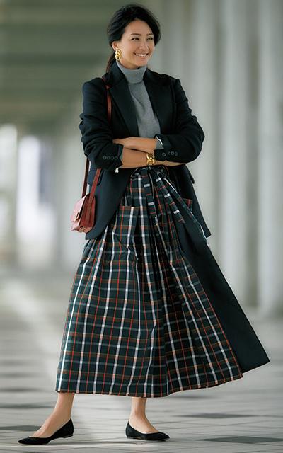 オーバースカート風のデザインのスカートコーデのRINA